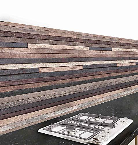 Crédence adhésive cuisine PVC 260_x_45_cm Bois sombre Rouleau adhesif decoratif 100% fabriqué en Italie, avec encre non toxique, ignifuge et résistant à l'eau