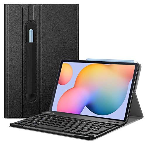 FINTIE Coque Clavier pour Tablette Samsung Galaxy Tab S6 Lite 10.4 Pouces 2020 (SM-P610/SM-P615), [AZERTY français], Etui de Protection Housse Cover en Cuir PU avec Clavier Bluetooth sans Fil, Noir