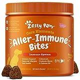 Zesty Paws Allergy Immune Supplement for Dogs - with Omega 3 Wild Alaskan Salmon Fish Oil & EpiCor + Digestive Prebiotics & Probiotics - Anti Itch & Skin Hot Spots + Seasonal Allergies - 90 Chews