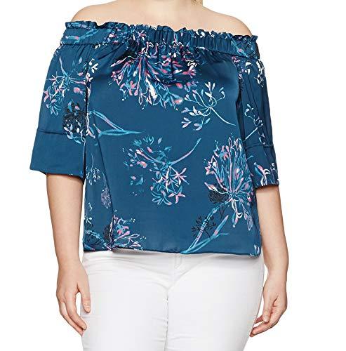 RACHEL Rachel Roy Women's Plus Size Elastic Off The Shoulder Top, Indigo/Hot Pink, 3X
