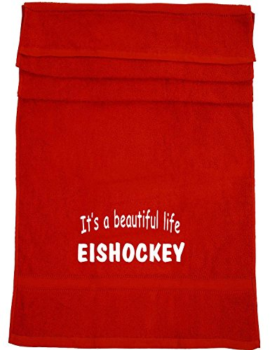 It's a beautiful life - Eishockey; Badetuch Sport, rot