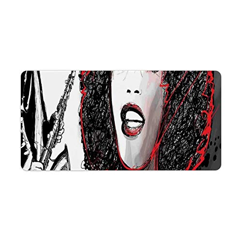 Extended Gaming Mouse Pad with Stitched Edges Waterproof Large Keyboard Mat Non-Slip Rubber Base American Girl Singing with Saxophone Player Popular Sound Desk Pad for Gamer Office Home 12x24 Inch