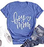 Boy Mom Shirt for Women Funny Cute Mama T Shirts with Sayings Mother Gifts Shirt (Blue, Large)