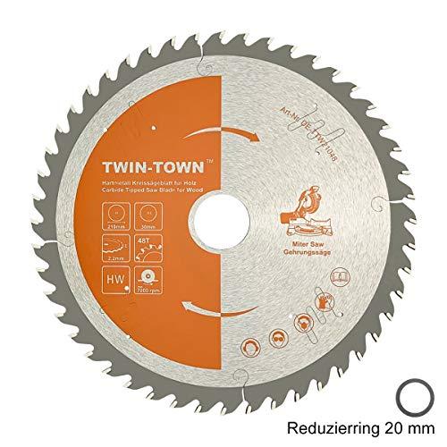 TWIN-TOWN HM Kreissägeblatt Holz 210x30mm Z48, Reduzierring 20 mm, Ideal für Bauholz Naturholz Hartholz Schalholz Faserplatten Leimholz zum Sägen mit Gehrungssäge