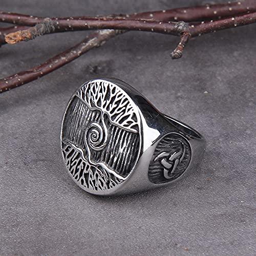 WTZWY Anillo de Sello de Árbol de la Vida Ovalado de Acero Inoxidable Hombres Clásicos Anillos de Amuleto Vikingo Joyería Nórdica Poder Infinito y Hermosa Continuidad de la Naturaleza,11