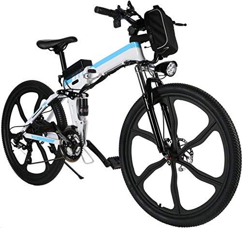 ANCHEER 26' Mountain bike pieghevole Bicicletta elettrica Sistema di trasmissione a 21 velocità con Sedile regolabile 36V/8AH Batteria al litio Carico massimo: 120 kg (Bianco)