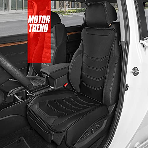 Motor Trend LuxeFit Black Faux Leather Car Seat Cover for Front Seats, 1 Piece...