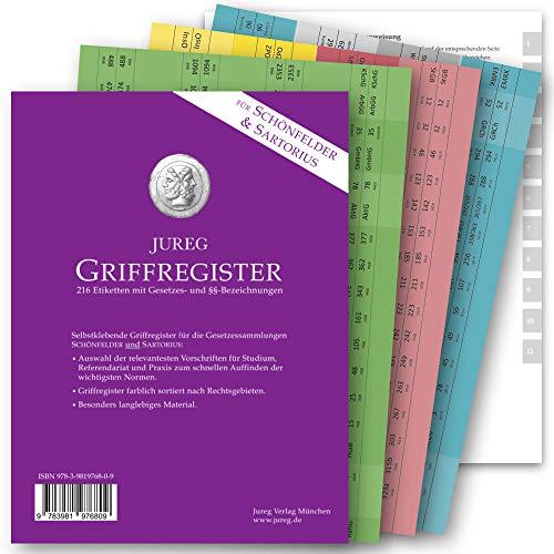 Griffregister für SCHÖNFELDER & SARTORIUS | selbstklebende Register mit Gesetzes- und §§-Bezeichnungen | 2020