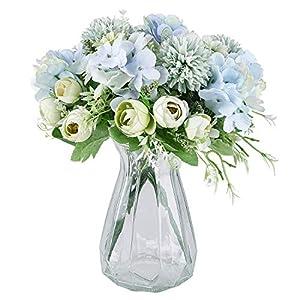 Martine Mall 2 Packs Artificial Flowers Bouquet Fake Peony Hydrangea Carnations Bouquet Fake Flower Arrangements