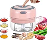 Duyifan Mini Food Chopper Electric Small Food Processor, Electric Food Chopper Tool, for Fruit, Onion, Vegetable, Chili Ginger, Meat Nut, Pet Food Grinder (Pink)