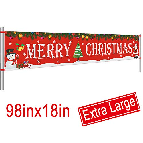 Large Merry Christmas Banner | Outdoor Red Christmas Banner Decorations | Xmas Outdoor & Indoor Hanging Decor | Christmas Holidays Party Decor Supplies (8.2 x 1.5 FT)