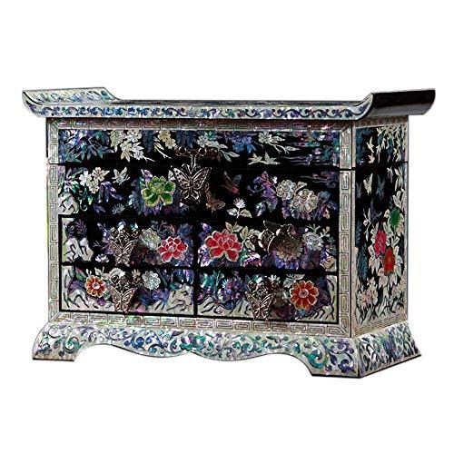 Laogg Caja Joyero Chino,Joyeropiano Pintura joyero de Madera Anillo Pendientes Collar colección Caja de Almacenamiento Muebles y Regalos orientales