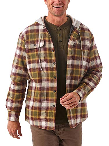 Wrangler Authentics Men's Long Sleeve Quilted Line Flannel Jacket with Hood, Olive Night, Large