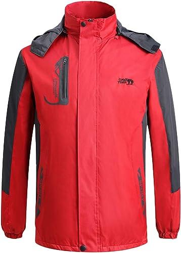Liabb Veste de Ski à Capuche pour Hommes Veste de Pluie imperméable Veste Coupe-Vent Veste de randonnée Multi-Poches,rouge,XXL