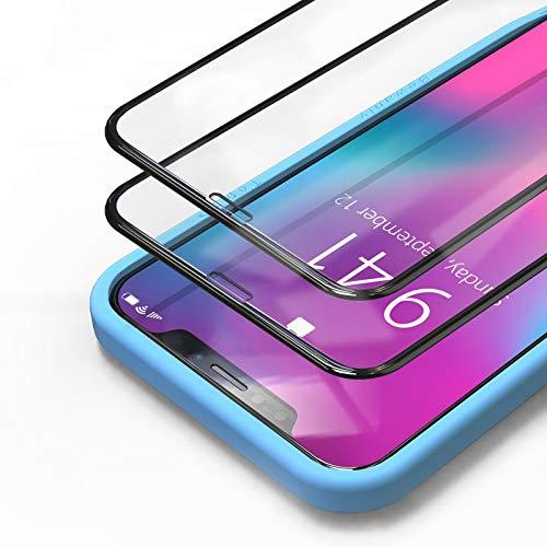 Bewahly Panzerglas Schutzfolie für iPhone XS/X/11 Pro [2 Stück], 3D Full Screen Panzerglasfolie 9H Härte Displayschutzfolie HD Glas Folie mit Installation Werkzeug für XS/X/10/11 Pro (5.8') - Schwarz