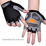 Bicycle Gloves Mountain Bike Road Cycling Gloves Non-Slip Camping Hiking Gloves Gym Fitness Exercise Bike,Upgrade Black,L