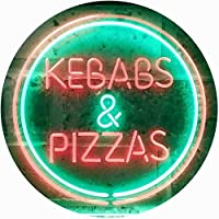 Kebabs and Pizzas Illuminated Dual Color LED看板 ネオンプレート サイン 標識 緑色 + 赤色 600 x 400mm st6s64-i0588-gr