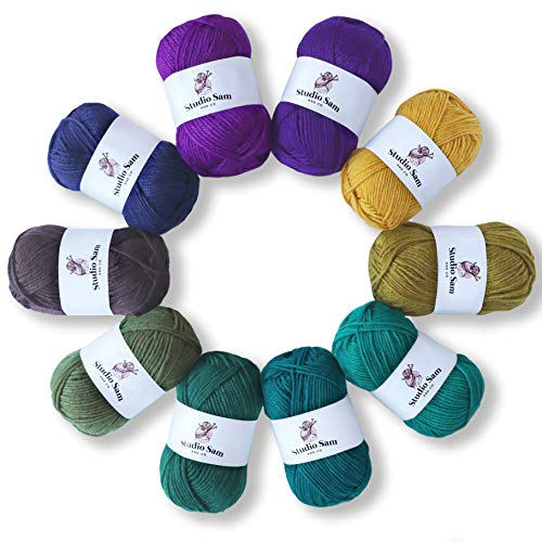 Studio Sam Acrylic Yarn Set. Ten Large 50g Skeins. Total 1030 Yards. Perfect for All Knitting, Crochet and Craft Projects.(Midnight Collection)