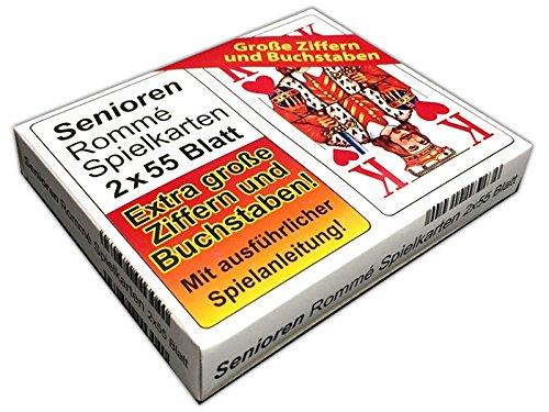 HAC24 2x55 Blatt Senioren Rommé, Canasta, Bridge Spielkarten Kartenspiel Karten