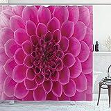 ABAKUHAUS Blumen Duschvorhang, Frische Blüte Blütenblatt Natur, mit 12 Ringe Set Wasserdicht Stielvoll Modern Farbfest & Schimmel Resistent, 175x220 cm, Magenta