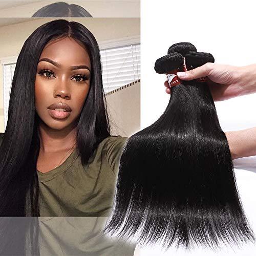 Tissage Bresilien en Lot de 1 Meche Bresilienne - Rajout Extension Cheveux Humain Naturel Lisse #1B Noir Naturel - 1 PCS (100g) - Longueur: 35 cm