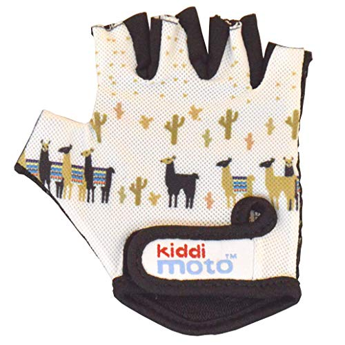 KIDDIMOTO Guantes de Ciclismo sin Dedos para Infantil (niñas y niños) - Bicicleta, MTB, BMX, Carretera, Montaña - Llama - Talla: M (5-8 años)