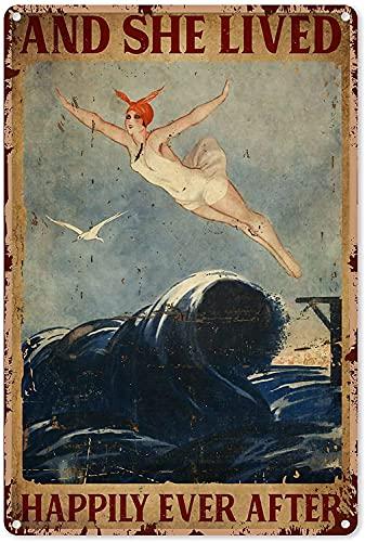Zwemmen Art Decor Meisje Retro en ze leefde zwemmen metalen teken 8×12 inch