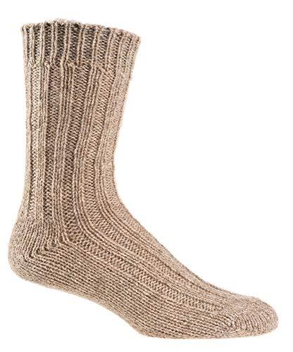 2 pares de calcetines de punto con alpaca y lana de oveja 100% fibras naturales 35-38, 39-42, 43-46 beige 39-42