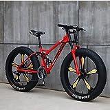 Bicicleta de montaña de 26 pulgadas con frenos de disco, marco de acero al carbono, bicicleta de montaña para hombre y mujer (color: 24 velocidades, tamaño: naranja 3 Spoke)