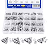 NINDEJIN 880Pcs M2 M3 M4 M5 Stainless Steel Precise Metric Hex Socket Head Cap Machine Screws,Round Flat Socket Bolts and Nuts Set and Washers Assortment Kit +Wrench (Stainless Steel, Hex Round)