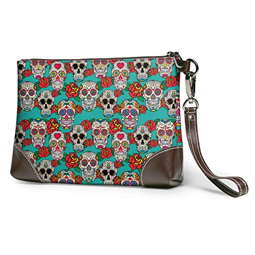 Ladies Leather Clutch Bag With Sugar Skulls And Roses