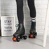 Patines de ruedas para mujer, color rojo, negro, blanco, 4 ruedas, para hombre adulto, hombre, mujer, deportes al aire libre, zapatos de patinaje con cordones 39 negro
