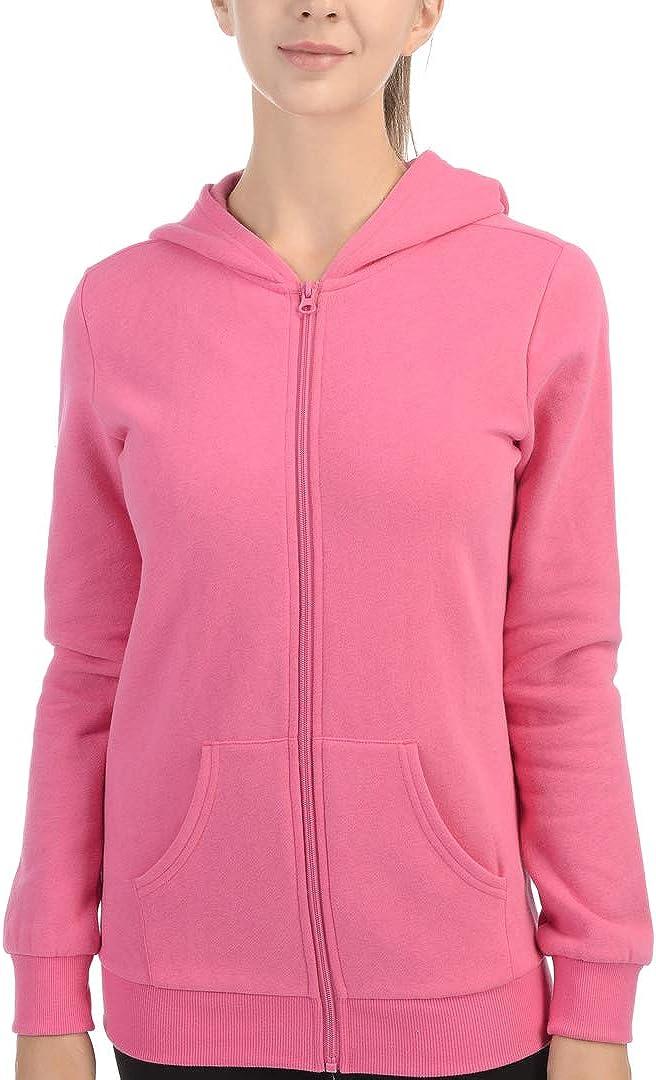 Women's Full-Zip Hooded Jacket Fleece Midweight Thermal Sweatshirt Work Out Hoodie for Women