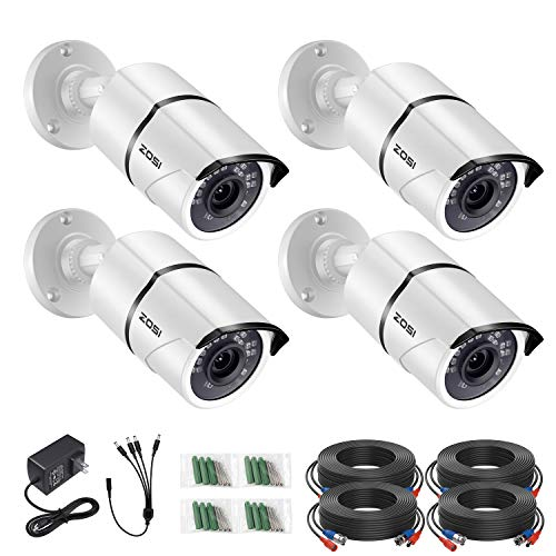 ZOSI 5MP 2K+ 4 Pack Security Bullet Camera with CCTV bnc Cable & Power Supply, Support 120ft Night Vision, Outdoor Indoor Home Office Security dvr System(Only Work with 5MP 8MP DVR)