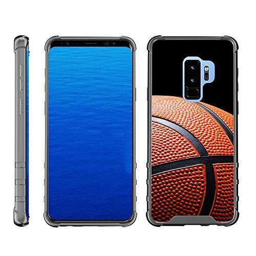 Compatible with Samsung Galaxy S9+ Case   S9 Plus Case   G965 [Flexible Armor] Fitted Hard Flexible TPU Case Shock Bumper with Smoke Edges Sports and Games by TurtleArmor - Basketball Seams