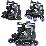 SK8 Zone Girls Purple 3in1 Roller Blades Inline Quad Skates Adjustable Size Childrens Kids Pro Combo Multi Ice Skating Boots Shoes New (Medium 13-3 (31-34 EU))