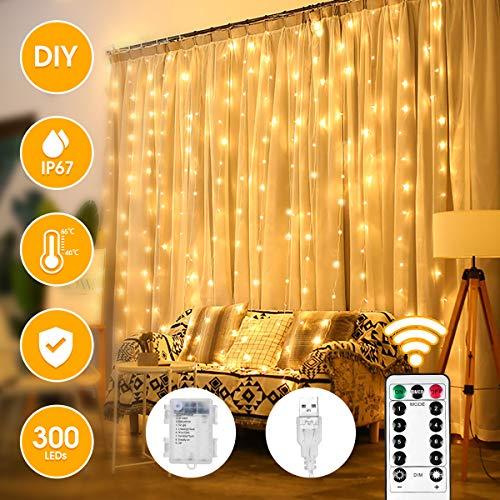 Lichtervorhang VAZILLIO 300 LEDs Lichterkettenvorhang Warmweiß 3m*3m Innen und außen IP67 Wasserfest 8 Modi mit Fernbedienung und Batterie-Box-Controller, für Party Schlafzimmer Hochzeit Ostern Deko