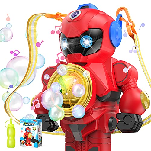 Bubble Machine Bubble Blower - Auto Robot Bubble Maker, Music & Light, Robot Bubble Toys with Bubble Solution & Lanyard, Bubble Machine for Kids Toddler Bubble Maker Toys Easy to Use & Carry, Red