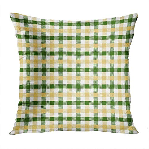 Pamela Hill Throw Pillow Decor Square 20 x 20 Inch Buffalo Plaid Green Yellow Gingham Squares Funda de cojín Decorativa súper Suave