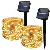 Yizhet 2 Piezas Guirnaldas Luces Exterior Solar,10M 100 LED Cadena de Luces Solares 8 Modos...