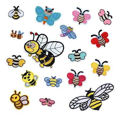 Soleebee 17pcs Assorted Size Iron-on Patches Applique Accessories Embroidered Cute Patches Set for Kid's Clothes, Jeans, Bags, Shoes, Hats - Cute Bee