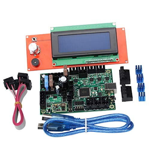 gazechimp 3D Printer Motherboard Parts kit for Reprap Mini-Rambo 1.3+2004A W/LCD Screen Display Controller and Adapter