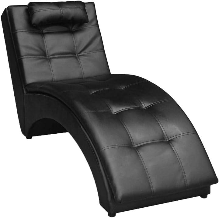 Sedia da psicologo sedia a sdraio in pelle artificiale nera con cuscino divano ottomana 242216