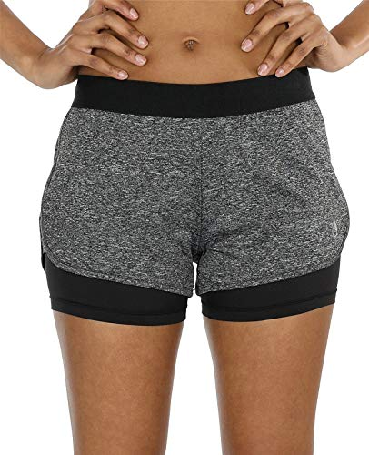 icyzone Damen Laufshorts 2 in 1 Kurze Sporthose Jogginghose Atmungsaktiv Sport Shorts für Gym Training (S, Charcoal)