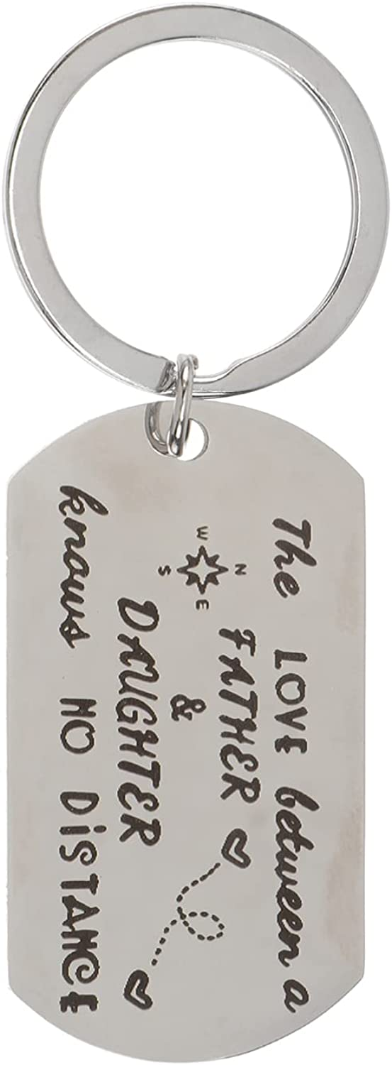 generic Father' s Day Keychain Stainless Steel Pendant Keyring The Love Between Father and Daughter Car Key Holder for Fathers Day Gifts Men Birthday Gift from Daughter