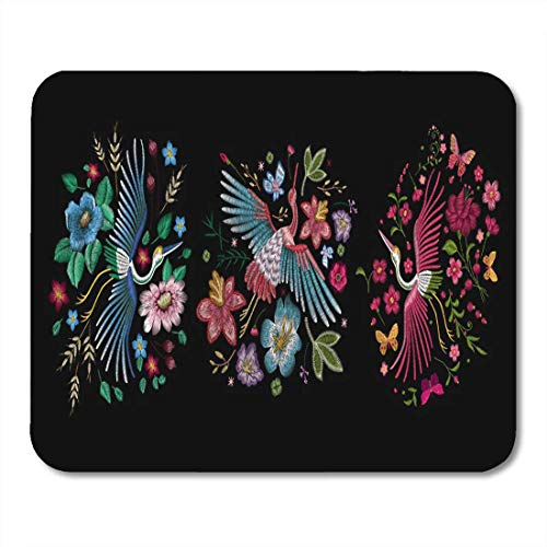Mauspads Kranich Vogel Blumen Hagebutte Pflanze Traditionelle Folk Black Mouse Pad für Notebooks, Desktop-Computer Matten Büromaterial
