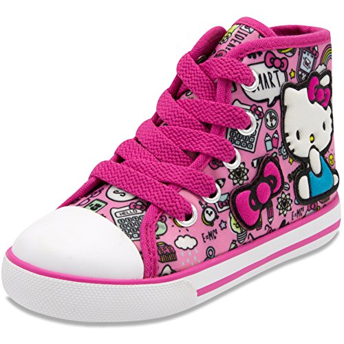 Hello Kitty Lil Avery Lace Up Fashion Sneaker with Embroidered Logo 6 Pink