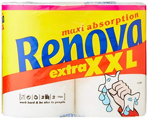 Renova Rollos de Cocina Maxi Absorption Extra XXL, 2 rollos Tamaño Triple equivalentes a 6 rollos estándar, Papel Certificado FSC