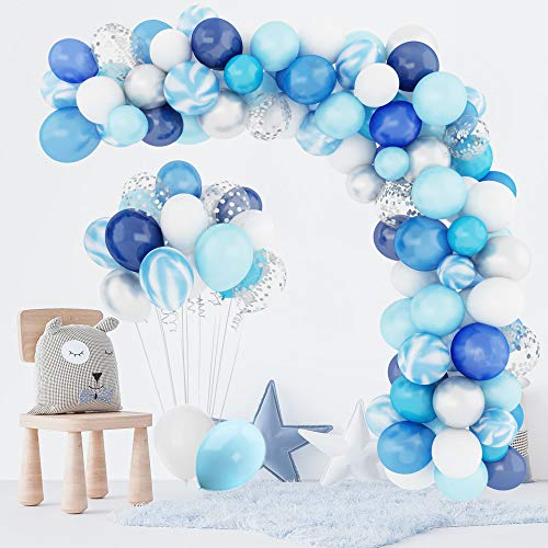 134 Piezas Azul Globos kit Arco Guirnalda, Azul Cielo Marino Baby Shower Niños Chico Cumpleaños Boda Graduación Blanco Plateado Látex Confeti Metálicos Globos Suministros Decoración para Fiestas