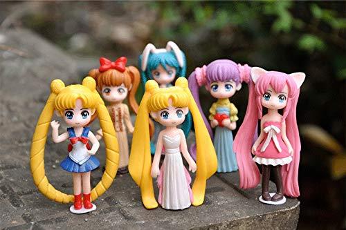 Zenghh Abito 6 Pacchetti Q Versione Mini Souvenir Sailor Moon Bunny School Uniform Wedding Static Nuovo Painted Azione Due Dimensioni di Gioco Auto Torta Piccoli Bambola Mostre Opera Exquisite Boxed